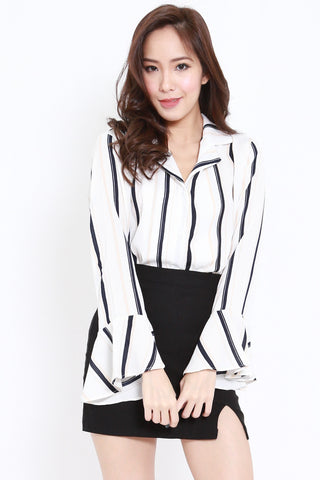 Bell Sleeves Stripes Shirt