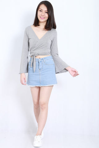 Bell Sleeves Wrap Top (Light Grey) -  - 2