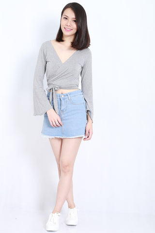 Bell Sleeves Wrap Top (Light Grey) -  - 1