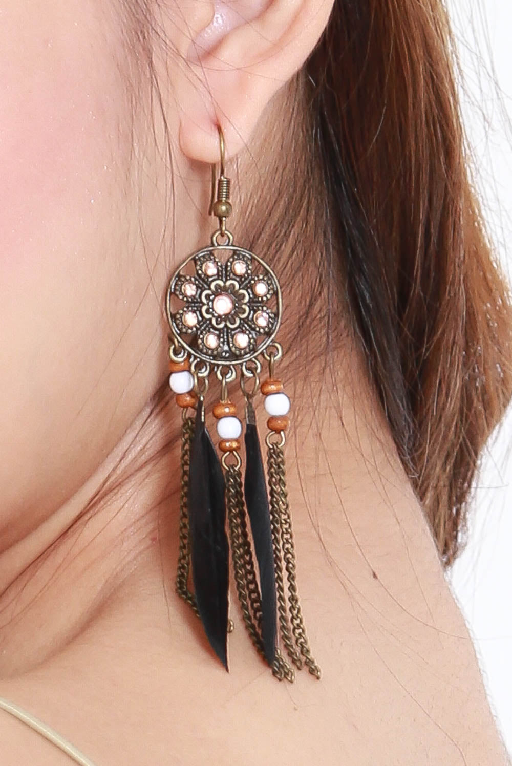Beth Vintage Feather Earring