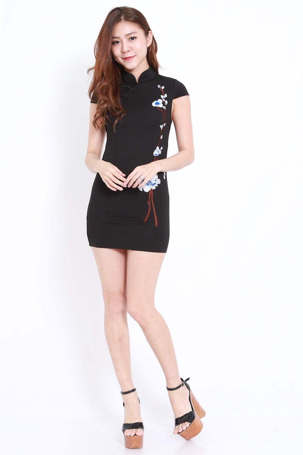 Black Embroidery Cheongsam Dress