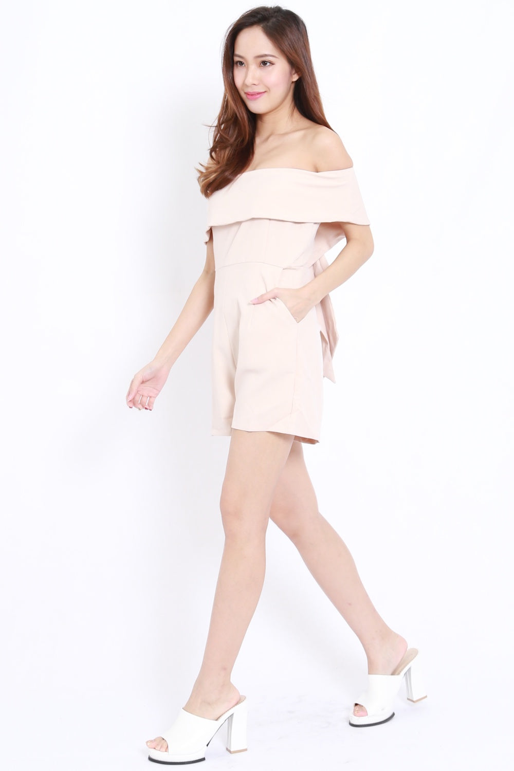 Bow Back Offsie Romper (Nude)