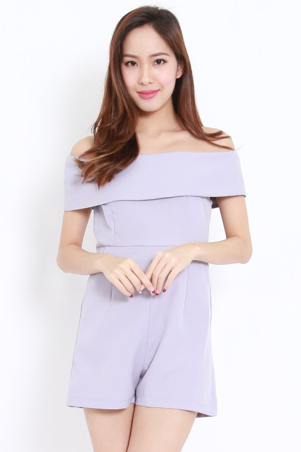 Bow Back Offsie Romper (Grey)