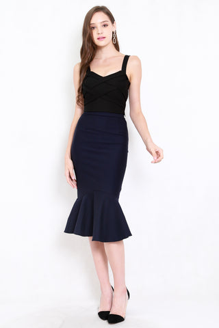 *Premium* Mermaid Midi Skirt (Navy)