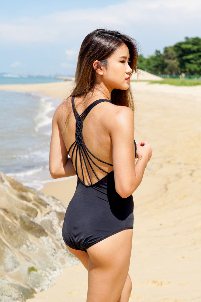 Braided Web Back Monokini (Black)