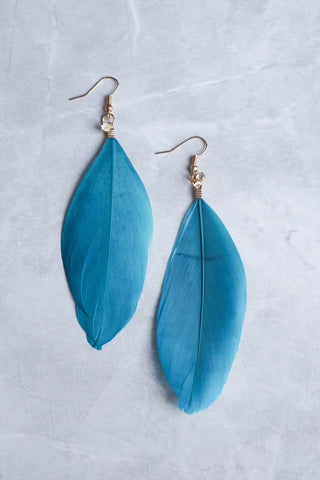 Brenna Feather Rhinestone Earring (Teal)