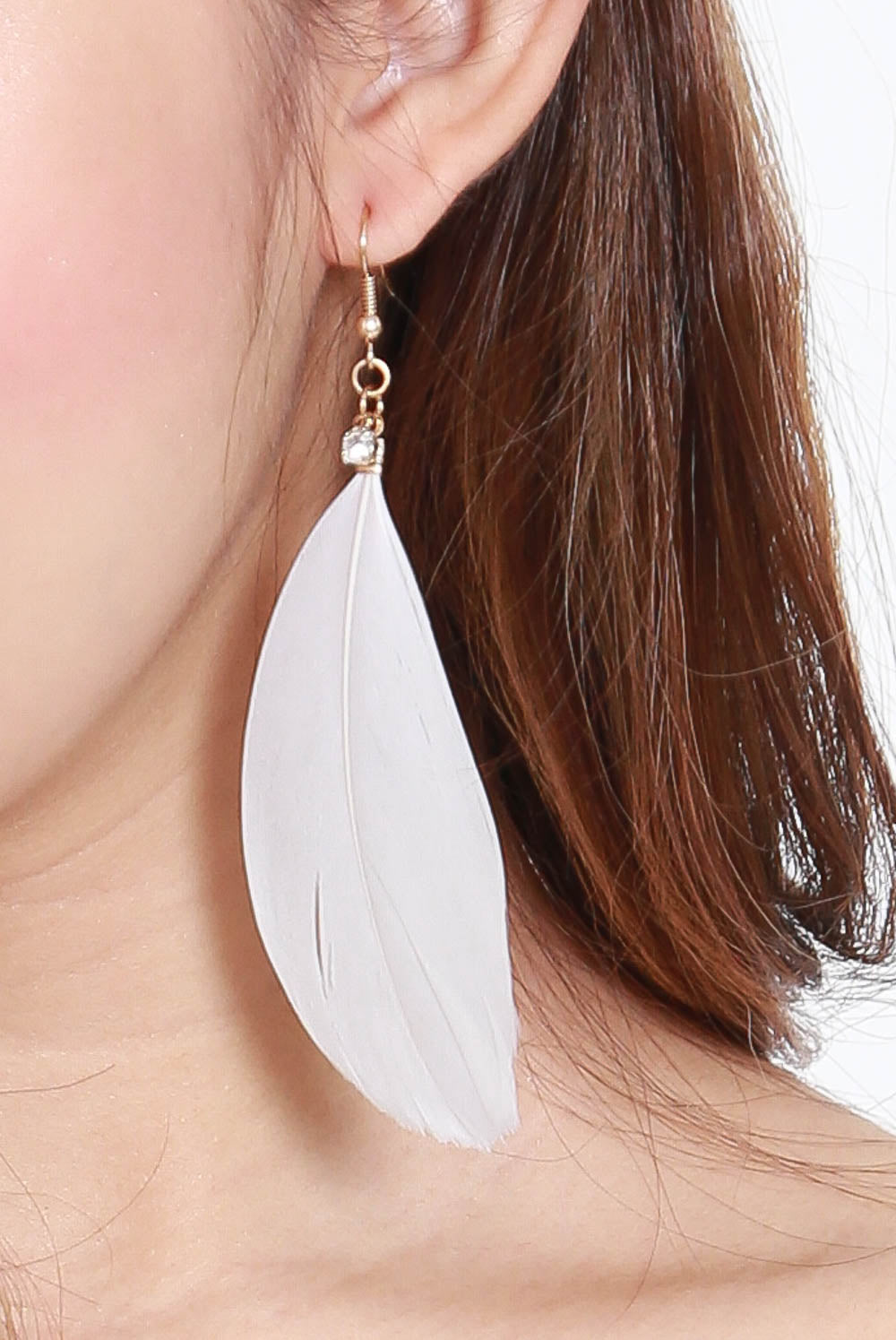 Brenna Feather Rhinestone Earring (White)