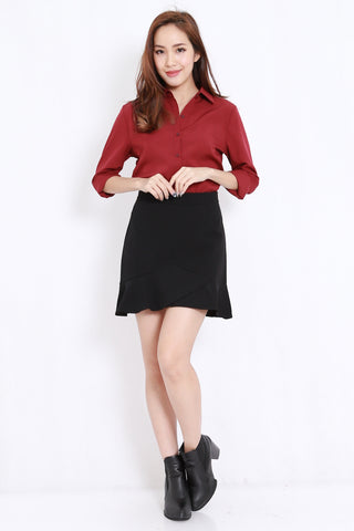 Button Casual Shirt (Maroon)
