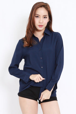 Button Casual Shirt (Navy)