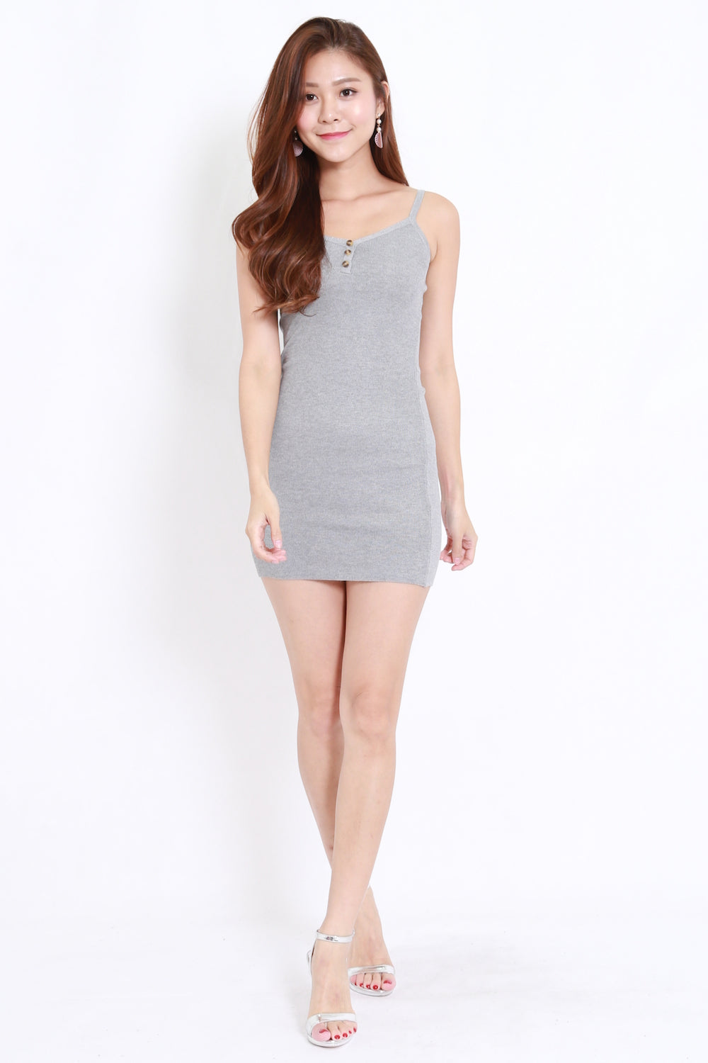Button Knit Dress (Grey)
