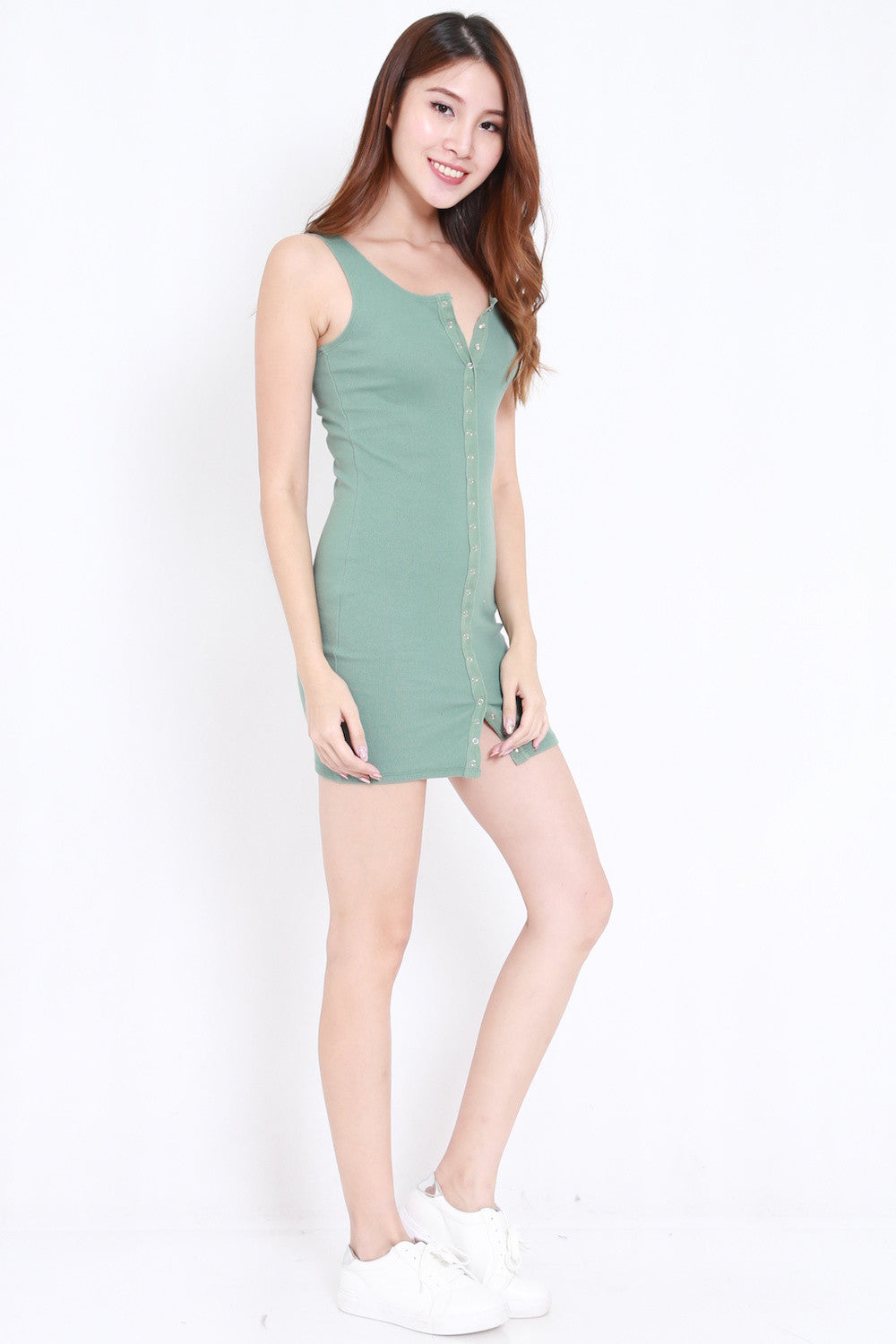 Button Ribbed Tank Dress (Green)
