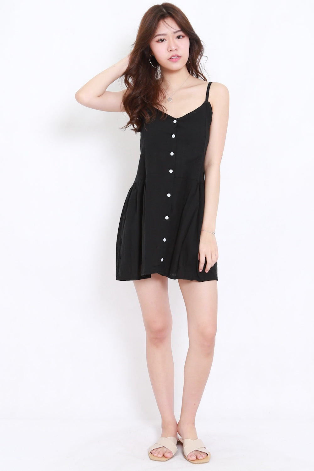 Buttons Babydoll Tunic (Black)