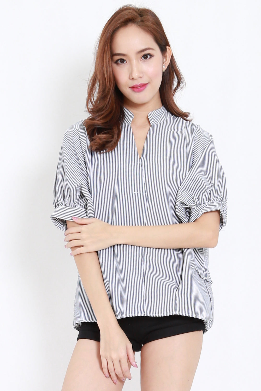 Buttons Back Stripes Shirt (Black)
