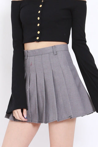 Pleated Mini Skirt (Grey)