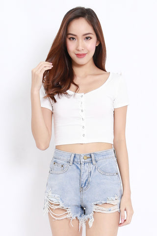 Buttons Crop Tee (White)