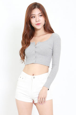 Buttons Long Sleeve Ribbed Top (Grey)