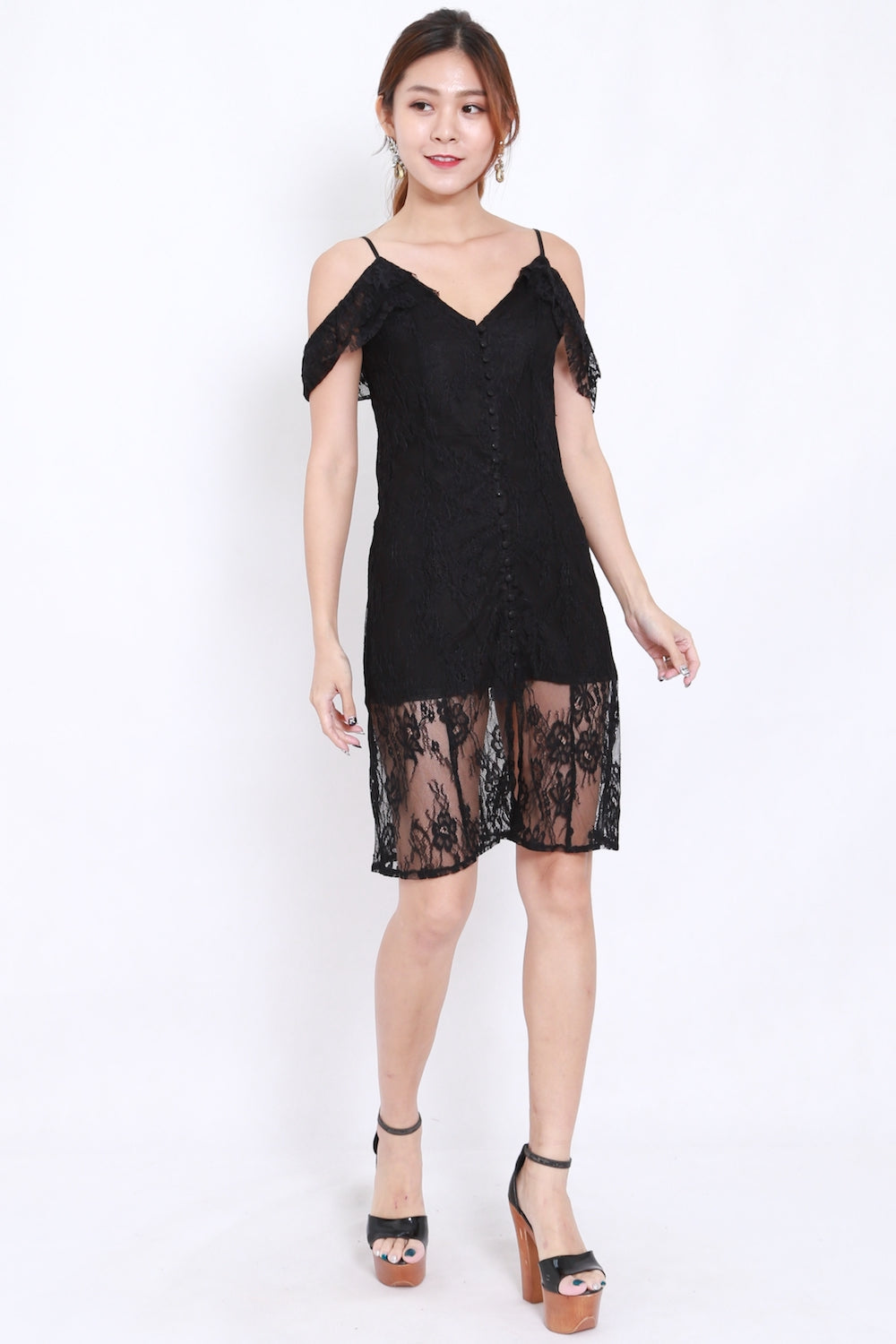 Buttons Offsie Lace Midi Dress (Black)