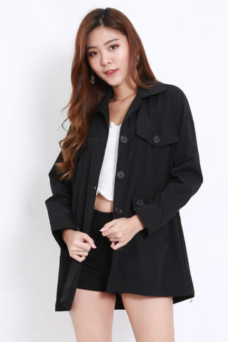 Buttons Pocket Parka w Sash (Black)