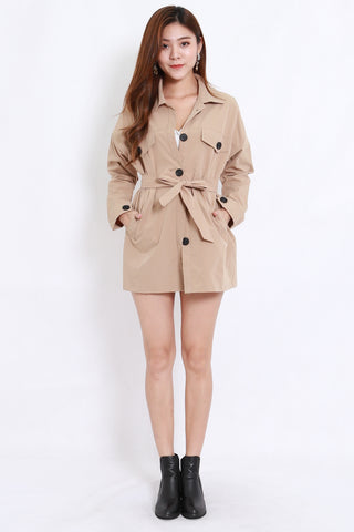 Buttons Pocket Parka w Sash (Khaki)