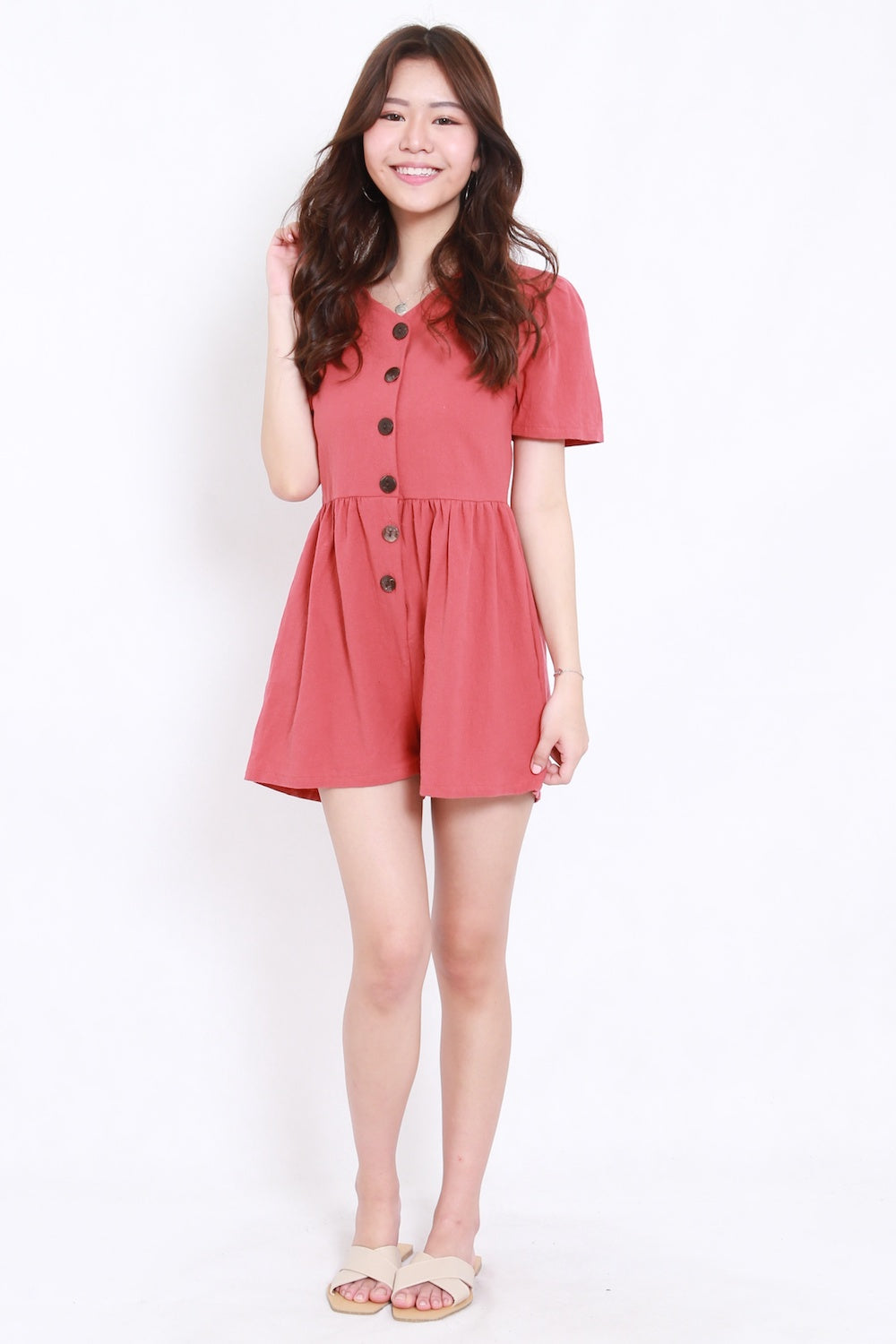 Buttons Pocket Romper (Rosewood)