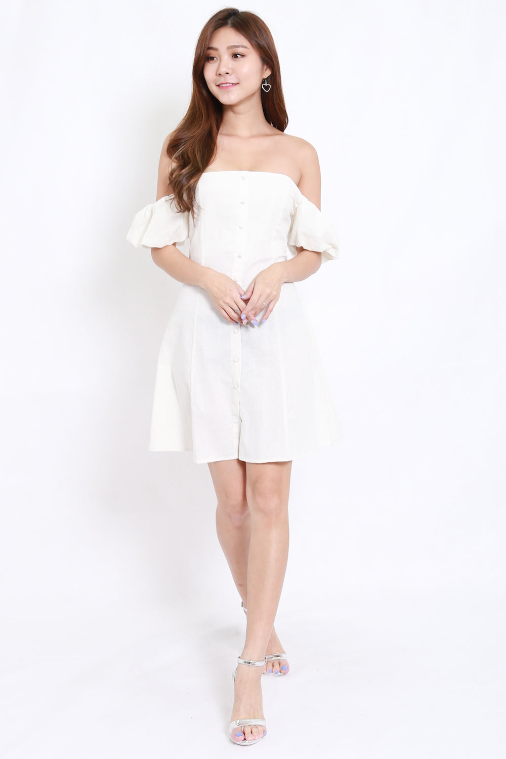Buttons Puff Sleeve Offsie Dress (White)