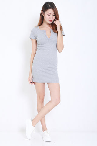 Buttons Ribbed Dress (Grey) -  - 2