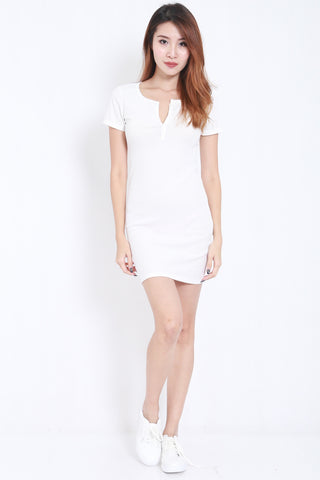 Buttons Ribbed Dress (White) -  - 1
