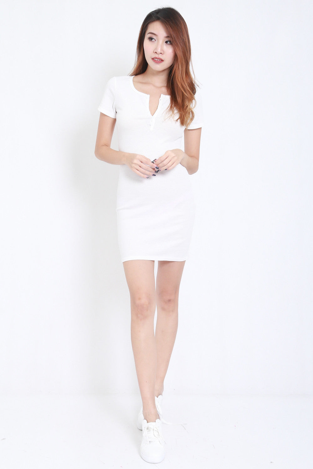 Buttons Ribbed Dress (White) -  - 2