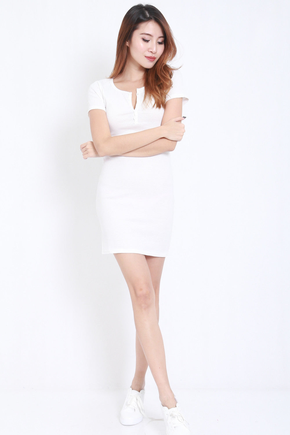 Buttons Ribbed Dress (White) -  - 3