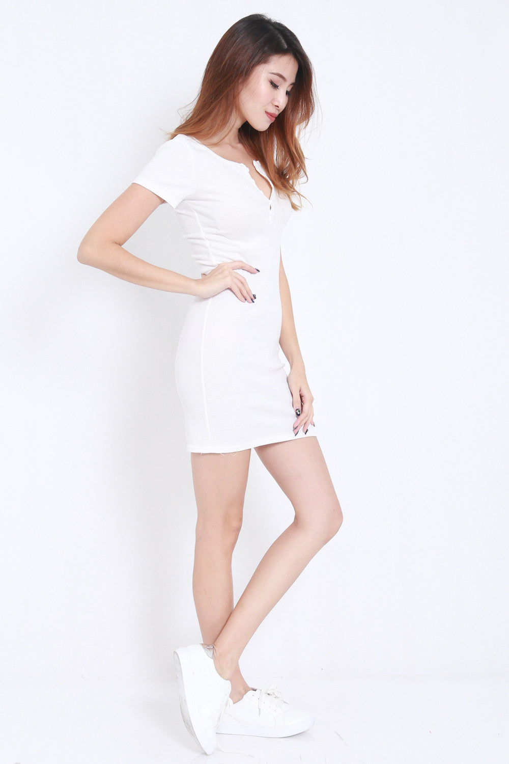 Buttons Ribbed Dress (White) -  - 4