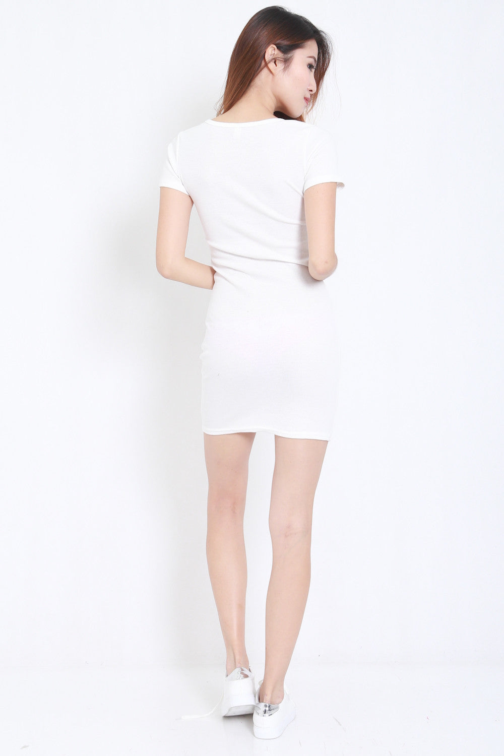 Buttons Ribbed Dress (White) -  - 5