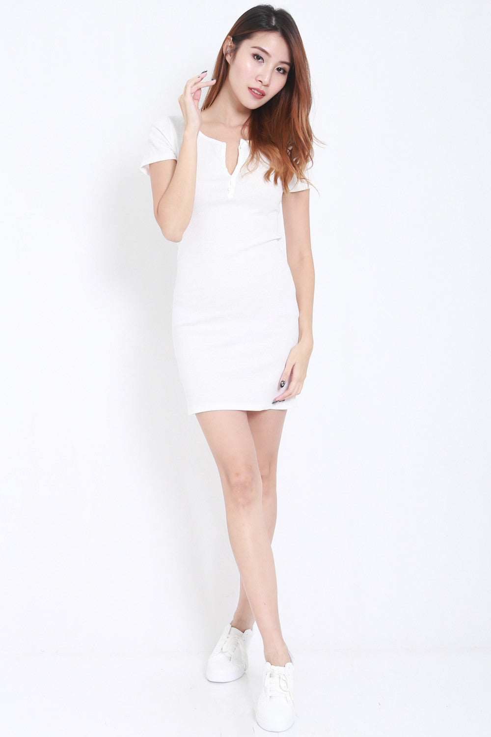 Buttons Ribbed Dress (White) -  - 6