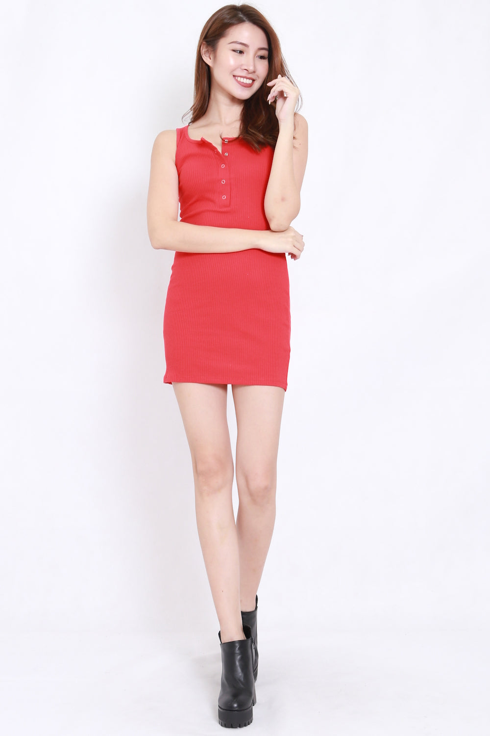 Buttons Ribbed Fitted Dress (Red)