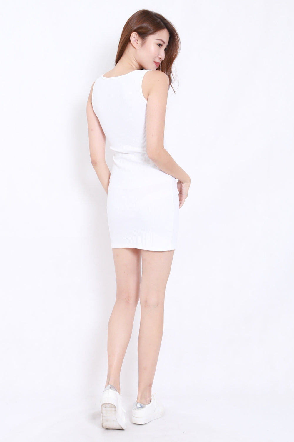 Buttons Ribbed Fitted Dress (White)