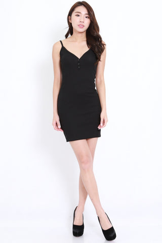 Buttons Ribbed Spag Dress (Black)
