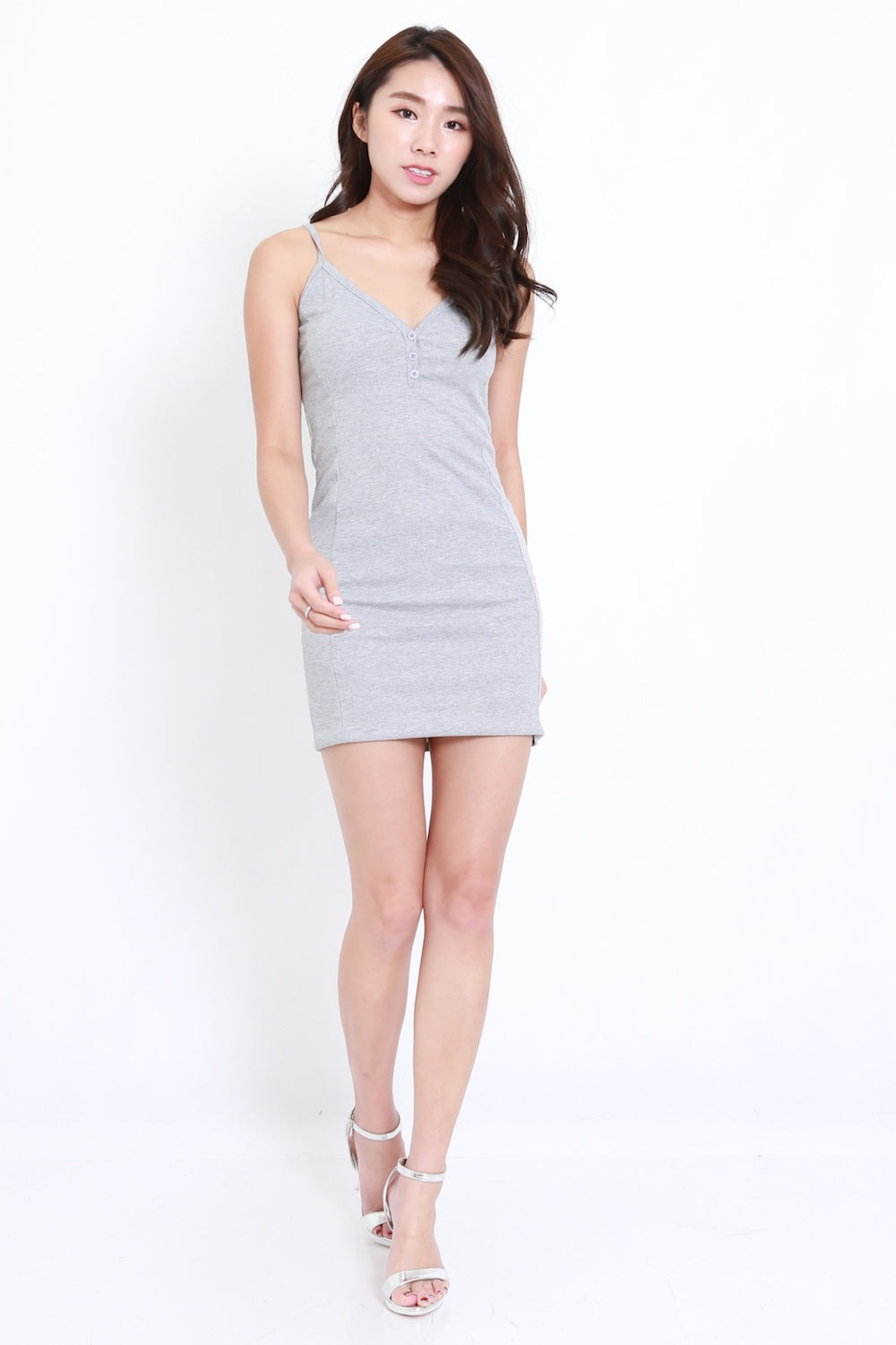 Buttons Ribbed Spag Dress (Grey)