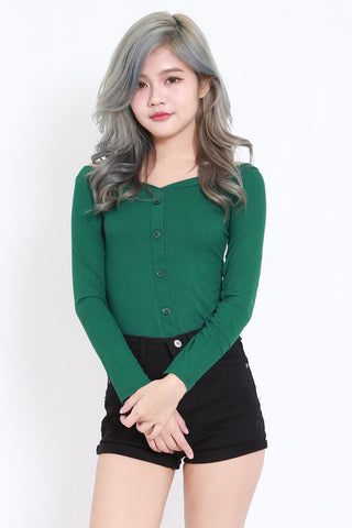 Buttons Ribbed Top (Green)