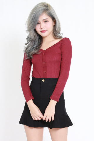 Buttons Ribbed Top (Maroon)