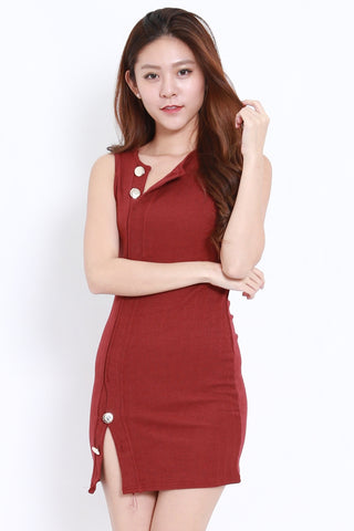 Buttons Slit Knit Dress (Maroon)