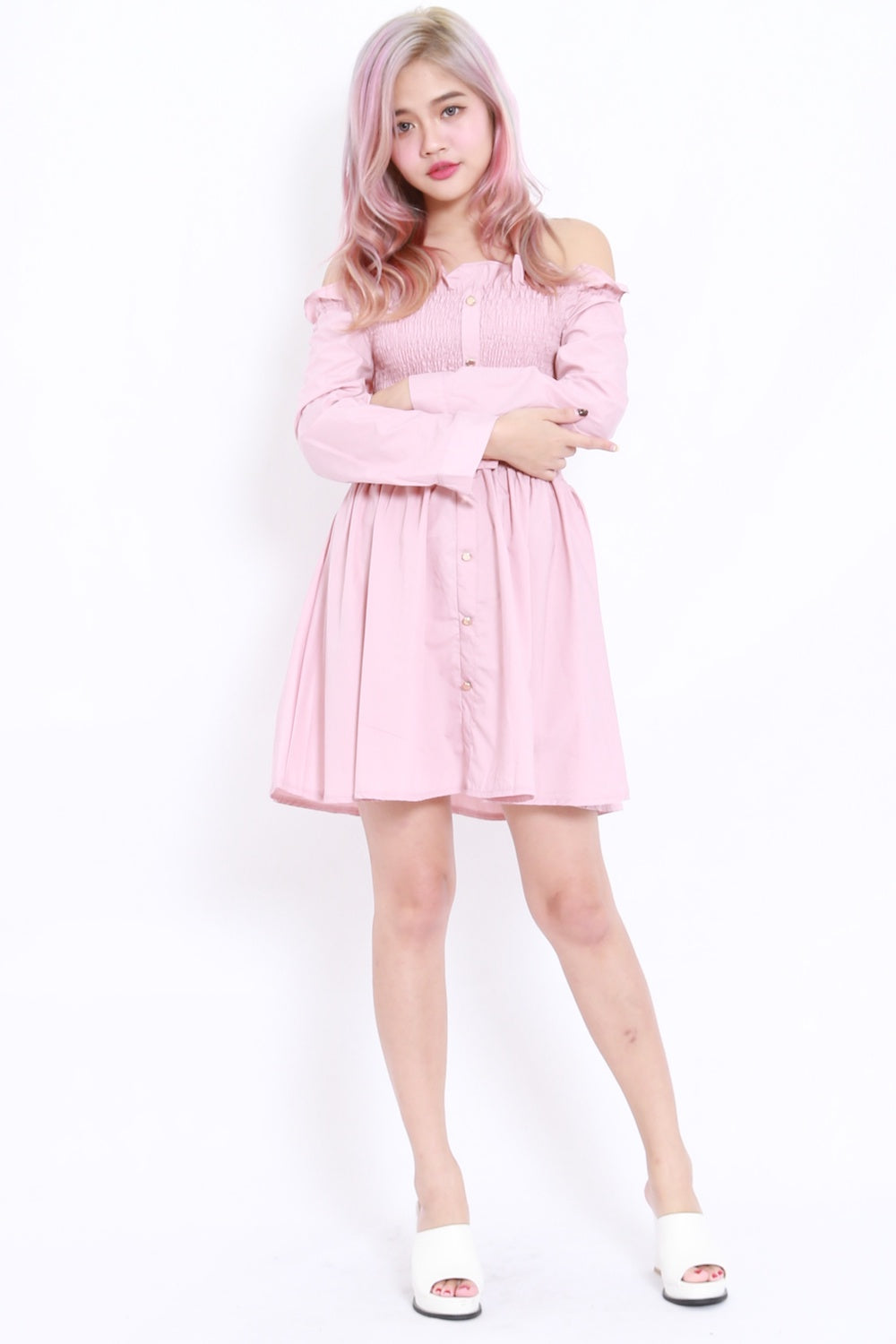Buttons Smoked Offsie Dress LS (Pink)