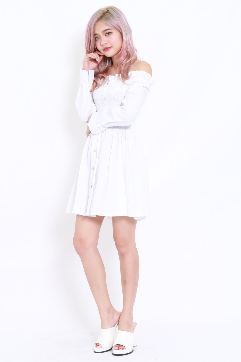 Buttons Smoked Offsie Dress LS (White)