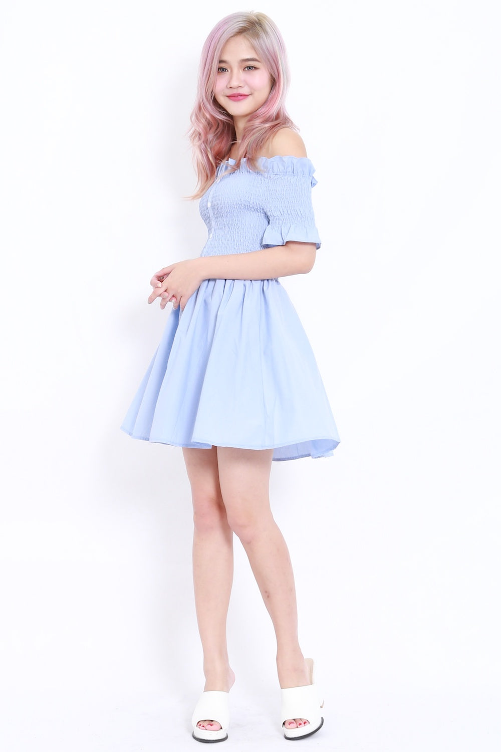 Buttons Smoked Offsie Dress SS (Blue)