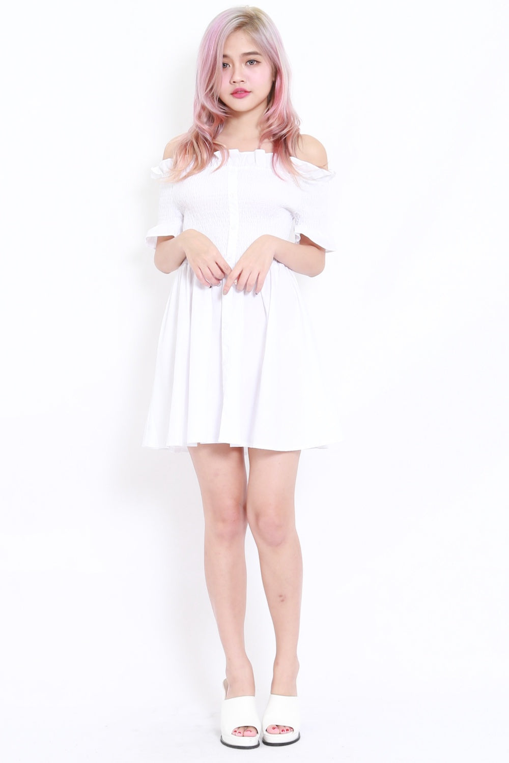 Buttons Smoked Offsie Dress SS (White)