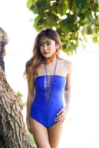 Cage Up Halter Monokini (Blue)