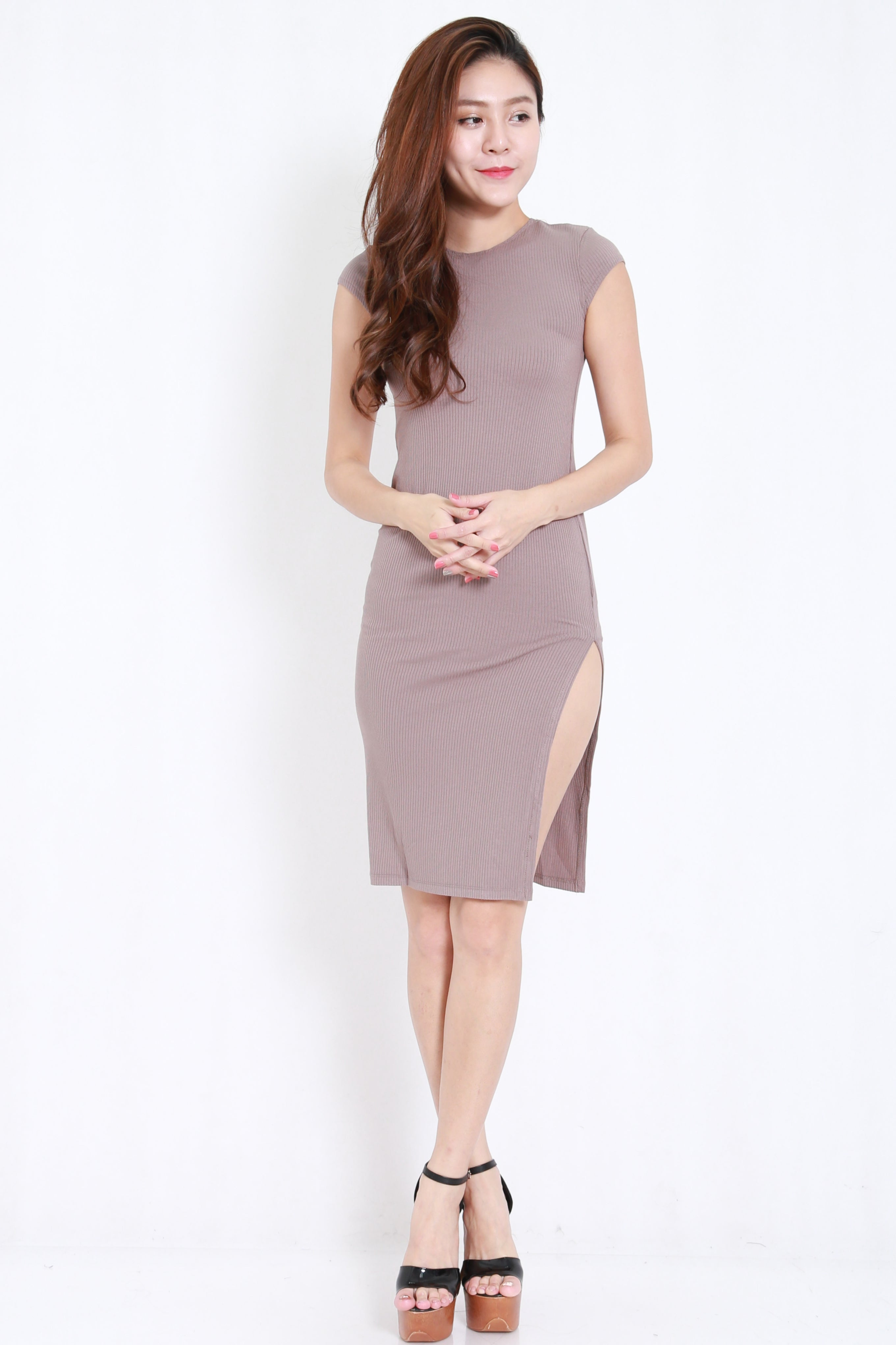 Cap Sleeve Ribbed Midi Dress (Taupe)