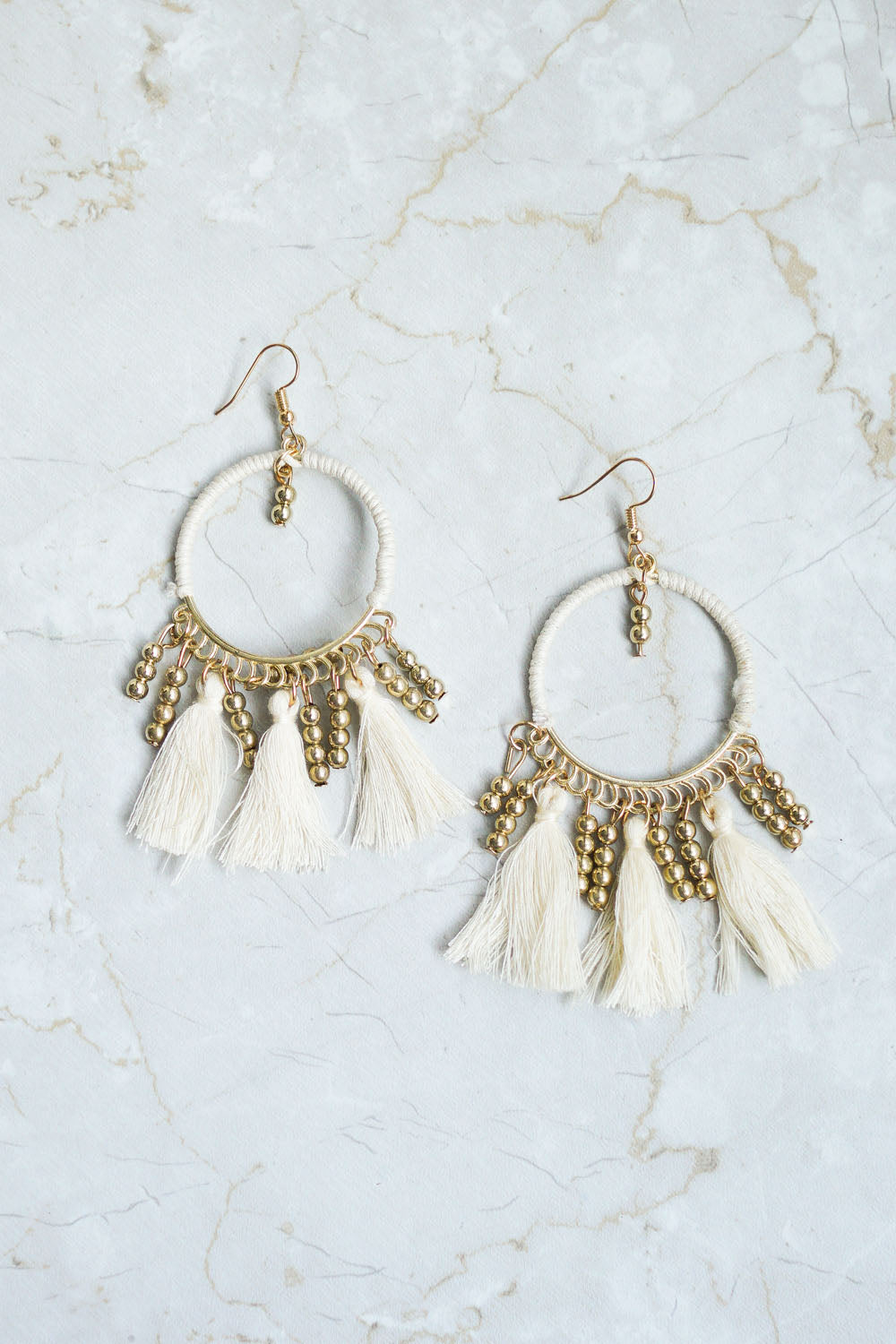 Carrie Boho Tassel Earring (White)
