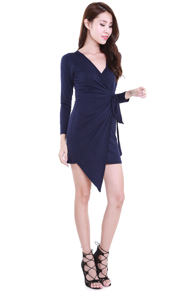 Wrap Tie Dress (Navy) -  - 1