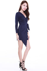 Wrap Tie Dress (Navy) -  - 2