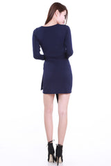 Wrap Tie Dress (Navy) -  - 5