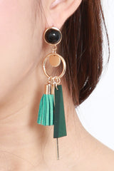 Cassandra Tassel Triangle Earring (Green)